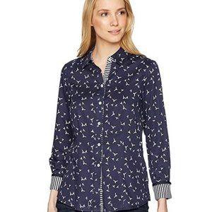 Foxcroft Navy & White Brooke Bird Poplin Shirt XXL